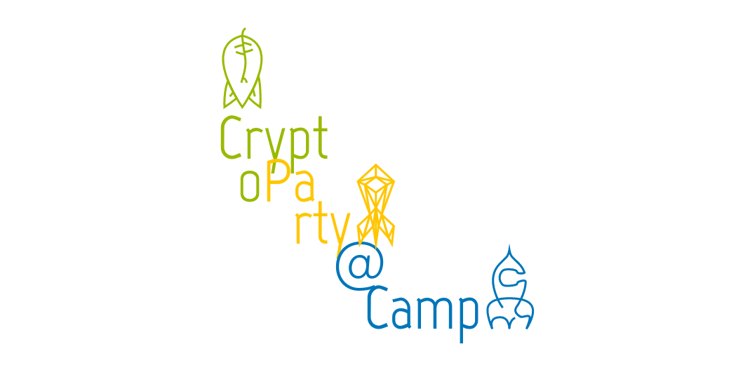 """Crypto Party @Camp"" in CCCamp19 design"